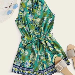 Tropical print belted romper